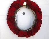 Scarlet red rose felt wreath
