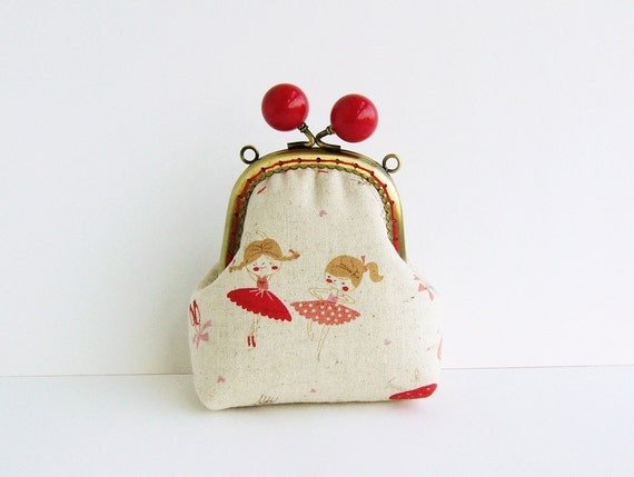 Little girls-ballerina-linen frame coin purse / Coin Wallet / Pouch coin purse/red bead