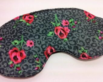 Silky Rose and Leopard Fleece Lined Eye Mask