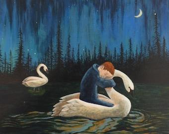 Swan Dream 9x12 Acrylic Painting