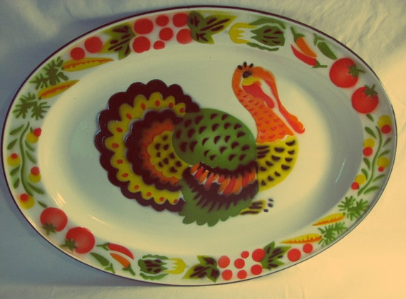 Vintage Enamelware Turkey Platter
