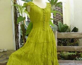 Princess Cotton Short Dress - Apple Green