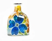 """Hand Painted """"Patron"""" Bottle Glass Bottle White Yellow Blue Flowers Abstract Retro Home Decor Decorative Glass Art"""