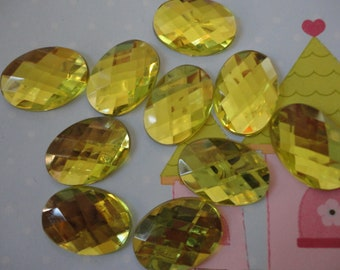 Yellow oval faceted acrylic rhinestone  10 pcs---USA seller
