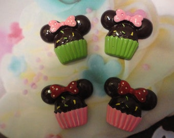 Kawaii mouse cupcake with bow cabochons  4 pcs