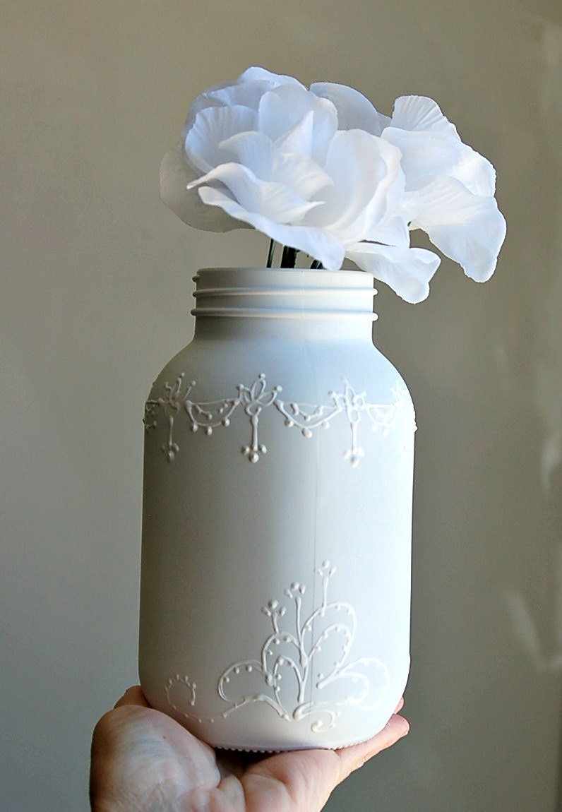 shabby chic white mason jar vase by thebabyhandprintco on etsy. Black Bedroom Furniture Sets. Home Design Ideas