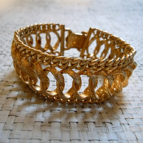 Reserved 50s Bergere Bracelet, Gold Chain link bracelet, Chunky Cuff, 1950s Designer