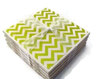 Distressed Green Chevron Handmade Tile Coasters Set of 4, Holiday Gift Fun Funky Modern Pattern Trendy Lime Green