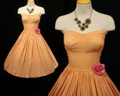 Vintage 50s MINDY ROSS Orange Cotton STRIPES Sun Dress Full Circle Skirt Rockabilly Lucy PinUp Garden Party Small - S
