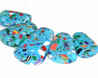 Stunning 5 pieces Blue Mosaic pendant bead Set J35B4103