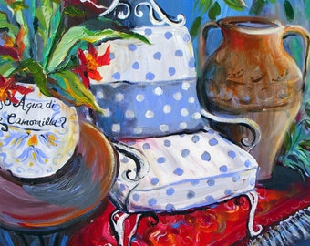 Original Painting Chair and Italian Vase  20 x 20  Art by Elaine Cory