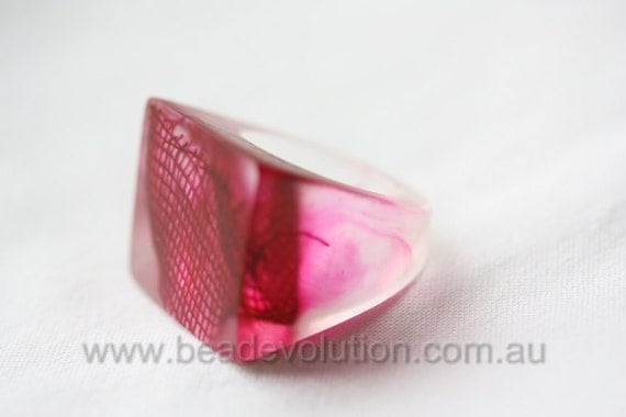 Resin Ring Ruby Red Square Shaped