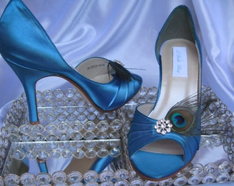 Peacock Wedding Shoes Blue Bridal Shoes with Peacock Feathers and Crystal - Over 100 Color Shoe Choices to Pick From