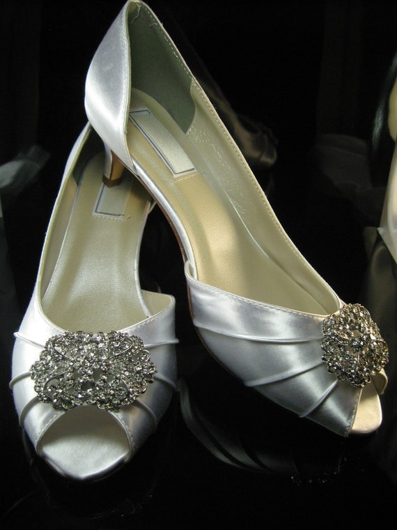Wedding Shoes with Vintage Style Crystal Brooch Bridal Shoes Custom Colors and Heel Sizes