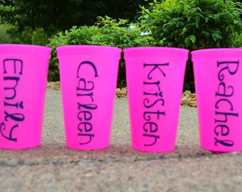 Personalized Cups, Plastic Tumblers, Bachelorette Weekend, Bridesmaids, Gifts, Set of 4