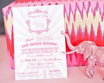 DIY Printable Invitation - Cirque du Bebe Elephant Baby Shower