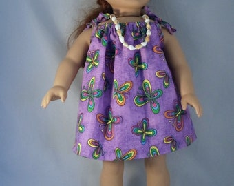 Purple Butterfly Hawaiian Luau Dress Handmade to  Fit 18 Inch Dolls Like American Girl