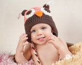Crochet Owl Colorful Hat for Babies Kids Adults Available in Many Colors FREE SHIPPING