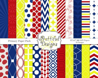Digital Paper Pack in Blue, Red, and Yellow primary colors - Primary