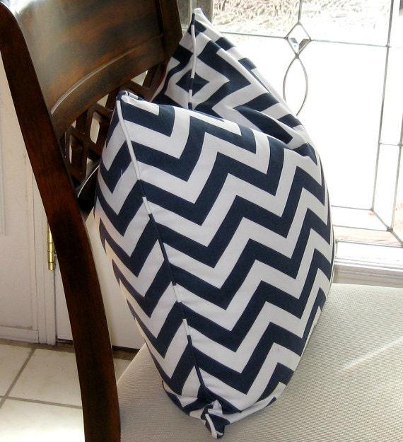 Chevron Pillow Cover, Cotton Pillow, Toss Pillow, Cushion, Navy and White