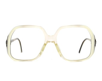 Big Transparent White Brown Vintage Eyeglasses - oversized Marwitz glasses