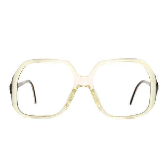 Big Transparent White Brown Vintage Eyeglasses - oversized Marwitz glasses