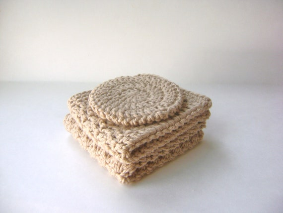Large Crochet Wash Cloths and Face Puff, Taupe Cotton Bath Set, Three Piece