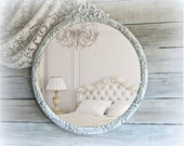 Antique Rose Mirror, Large Oval Mirror, Shabby Chic, Cottage Chic