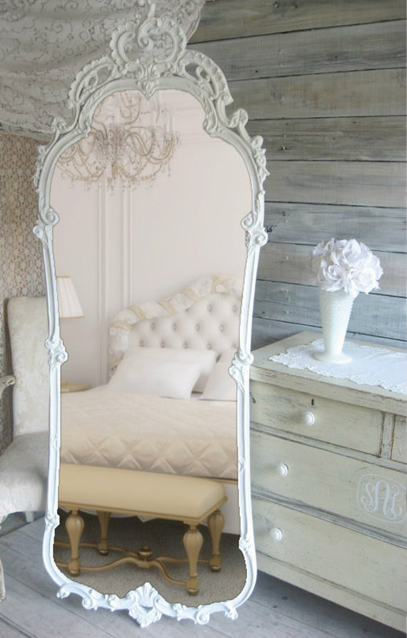 French Provencal, Leaning Mirror, Vintage Shabby Chic, Cottage Chic