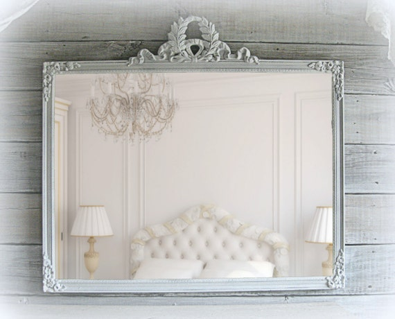 "Reserved for Alma......Antique Parlor Mirror,  34"" x 31"",  Shabby Chic White Mirror, Cottage Chic, Beach Cottage"