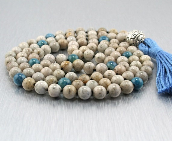 Grounding Mala - 108 Bead Hand-Knotted Mala with Feldspar, Apatite, and Sterling Silver