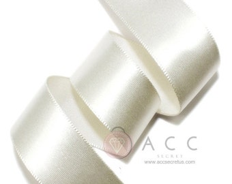 Ivory Single Faced Satin Ribbon - 5mm(2/8''), 10mm(3/8''), 15mm(5/8''), 25mm(1''), 40mm(1 1/2''), and  50mm(2'')