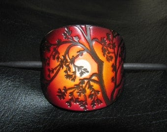 Leather Barrette / Large /Tree / Red Sky