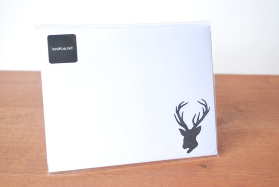 white writing paper set of five: deer and antlers