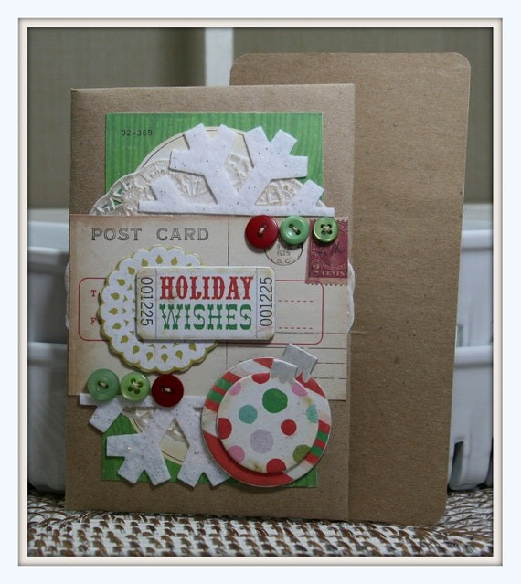Retro Vintage Styled Christmas Card-Tag Holder with Pocket Holiday Wishes