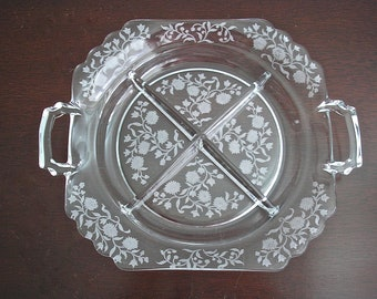 1940s Cambridge Etched Depression Glass Four Section Serving Dish