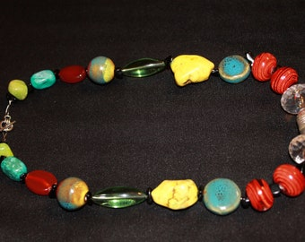 New Multicolored African Silver Necklace