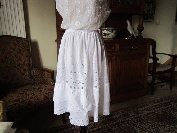 Vintage French broderie anglaise cotton handmade petticoat or summer skirt