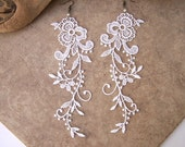 Wisteria white lace floral earrings