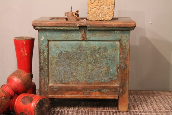 Vintage Green Small Storage Trunk