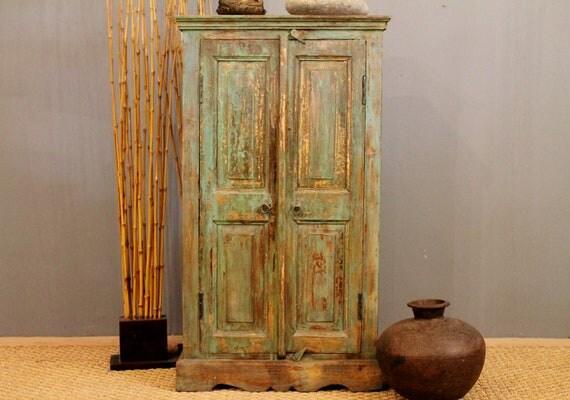 CLEARANCE HUGE SALE Rustic Vintage Distressed Green Kitchen Bathroom Storage Cupboard Christmas cabinet