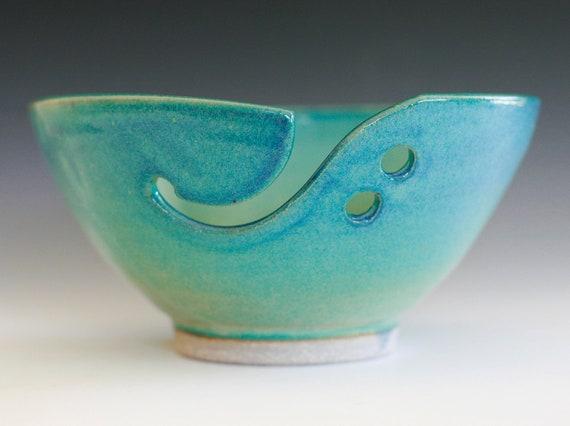 "Yarn Bowl, handmade stoneware pottery,handmade ceramic yarn bowl, 7.5"" wide 3.5"" tall, Ready to Ship"
