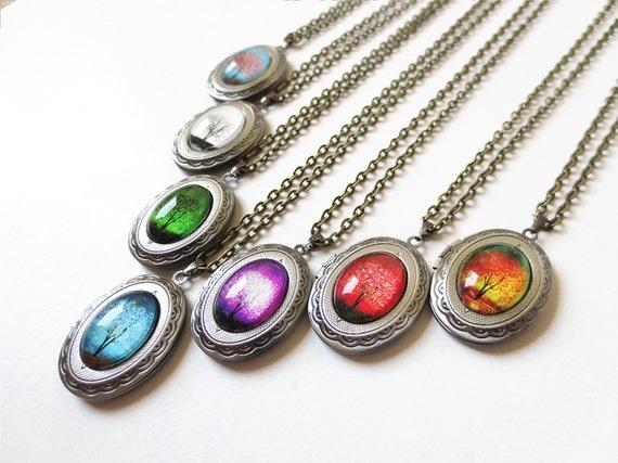 Custom Tree  Bridesmaid Set of 7 -- Wearable Art Cameo Locket Necklace