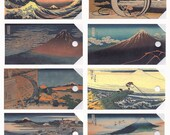 8 Gift Tags from the 36 views of  Mt. Fuji by Hokusai egtls001