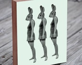 Three Lovely Ladies - Rabbit Art - Bunny Art - Wood Block Art Print