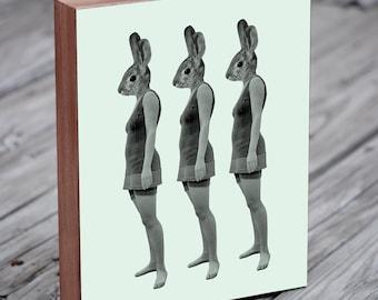 Three Lovely Ladies - Rabbit Art - Bunny Art - Wood Block Art Print