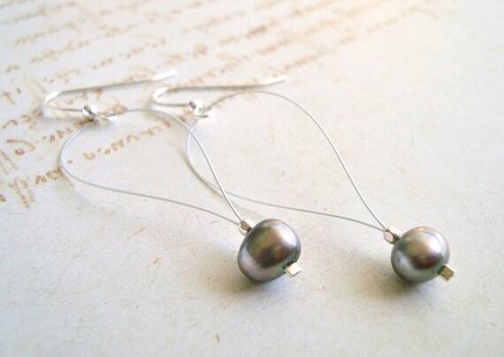 Silver Pearl Drop Earrings, Minimalist Earrings, Simple Pearl Earrings