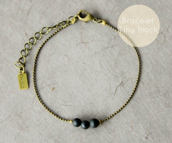 WARM MY SOUL - Tiny Black Bracelet tiny ball chain and 3 small wooden black beads