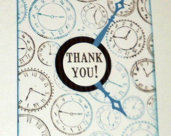 Exquisitly hand stamped Clock Thank You cards - Box of 10