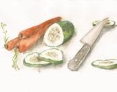 "Veggies, Print of Watercolor Painting, 8"" by 10"""